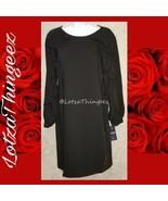 Chaps Dress Black Size 2 Long Ruffle Sleeves NEW - $34.64