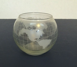 Vintage nescafe world globe etched glass container for floating oil candle  - $21.73