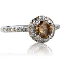 1.02 TCW Champagne Round Cut Diamond Engagement Ring 14k White Gold - $1,276.11