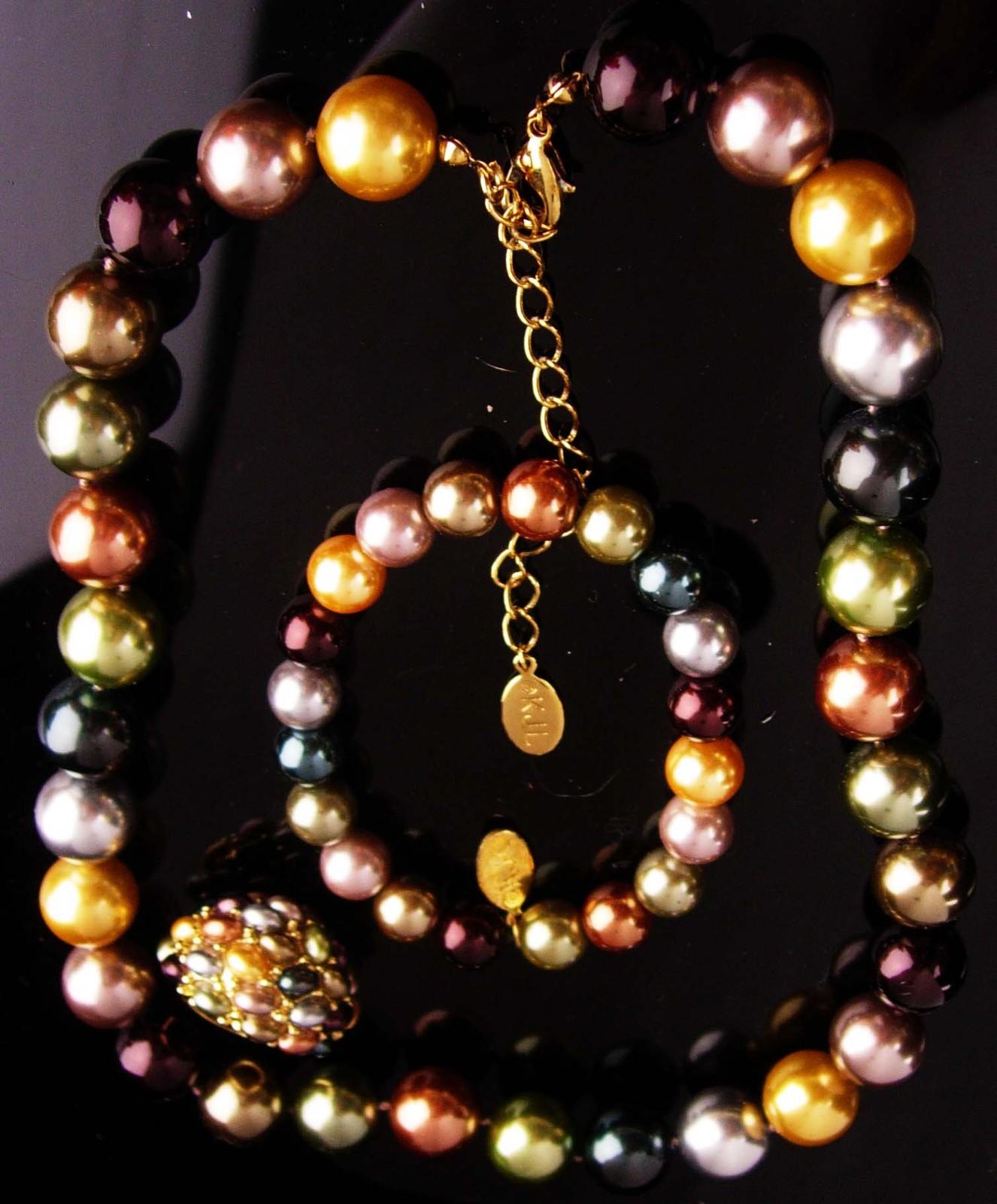 Elegant KJL Bracelet Signed set - pearl necklace - beaded bracelet - Vintage siz