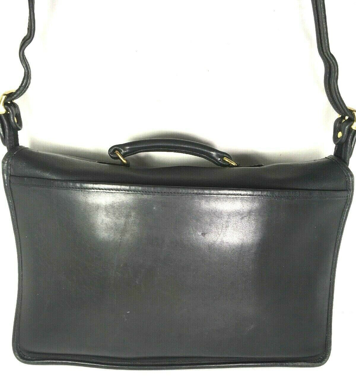 Coach Vintage Black Leather Briefcase Adjustable Strap
