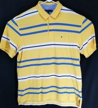 Tommy Hilfiger Men's Short Sleeve Polo Yellow And Blue Striped Size XXL - $23.16