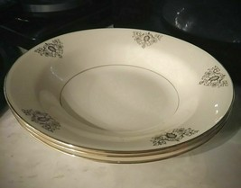 1947 Homer Laughlin Eggshell Nautilus Gold Filigree Scrolls Soup Bowls - $25.73