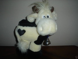 Russ Berrie B&W COW Plush with CowBell - Heart Shaped Spot on Hind - $67.54