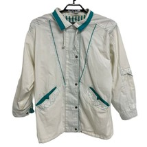 New York Girl Vintage Women's Size 1X Windbreaker Jacket White Green - $23.76