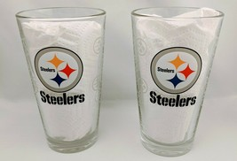 NFL Pittsburgh Steelers Beer Pint Glass Football Bar Lot of 2 - $19.99