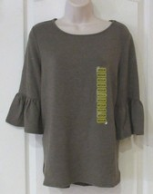 Adrianna Papell Ruffle Bell Sleeve Top Olive Heather Women's Sz. L NWT MSRP$49 - $23.01