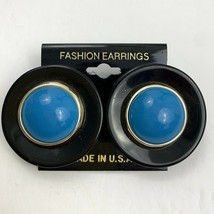 Vintage Big Plastic Round Blue Cabochon Earrings NOS 80s 90s Pierced - $11.10
