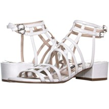 Nine West Xerxes Caged Block Heel Sandals 655, White, 5.5 US - $31.67