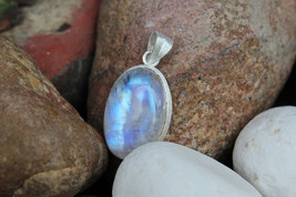 27x17 Oval shaped white rainbow moonstone silver pendant Best gift for b... - $41.68