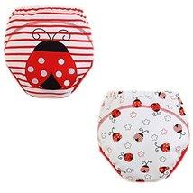 2 PCs Stripe Ladybird Dot Toddlers Reusable Washable Baby Newborn Diaper Pants M