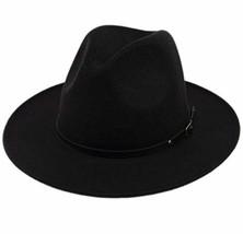 Lanzom Womens Classic Wide Brim Floppy Panama Hat Belt Buckle Wool Fedor... - $28.32
