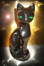 HAUNTED 1950'S CAT STATUE FREE W $55 CLEAR BLOCKS OPEN COMMUNICATION MAGICK - Freebie