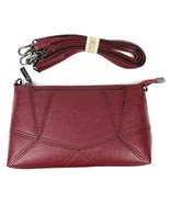 "Lirenniao- Dark Red Leather Crossbody Purse (10""x6""x2"") - $18.65"