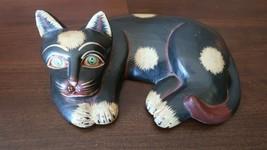 "Antique 9.5"" Carved Wood Cat 9.5"" - $76.23"