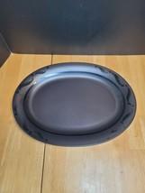 Pfaltzgraff Black Pinwheels 14 Inch Platter Black Glossy Design on Black - $16.78