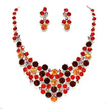 Elegant Women Costume Jewelry Mixed Red Coral Peach Ab Rhinestone Silver... - $34.15