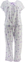 Carole Hochman Stripe Floral Cotton Jersey 2-Pc Pajama Set Purple S NEW ... - $30.67