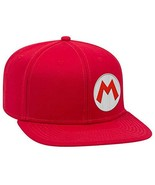 Controller Gear Unisex-Adult's Super Mario M Snapback Flat Bill Hat, Red... - $11.05