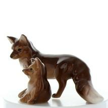 Fairy Garden Miniature Red Fox Mama and Baby Ceramic Figurines by Hagen Renaker