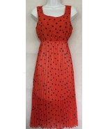 Polka Dot Red Orange Blue Lined Elastic Waist Sleeveless Pleated Dress S... - $26.84