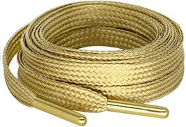 MiracleCat Flat Golden Color Metal Tips Silk Shoelaces For Sport Shoes And - $20.37