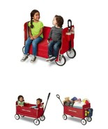NEW EZ Fold Wagon Padded Seat with Seat Belts Red kids 3-in-1 2 riders 1... - $83.99