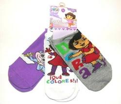 Dora the Explorer Violet Colored Kids Floral Socks Size 6-8, 2 Pairs