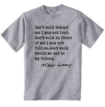 Albert Camus Quote 1 - New Cotton Grey Grey Tshirt - $23.17