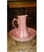 Vintage Pink Ceramic Wash Stand Bowl & Pitcher Circa. 1978 French Countr... - $39.59