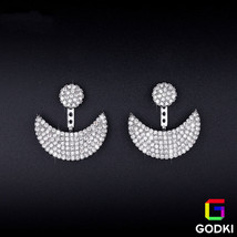 Luxury Smile Moon 925 Silver Needle Simulated D... - $14.01