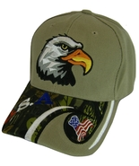 USA American Bald Eagle Patriotic Adjustable Baseball Cap KHAKI/CAMOUFLAGE - $11.95