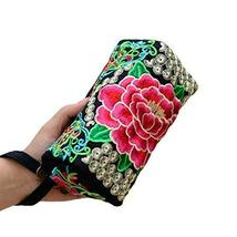 PANDA SUPERSTORE Phone Package Embroidery Bag Handbag Clutch Ethnic Small Square