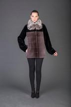 Luxury gift/ Brown Black Beaver Fur Coat With Silver Fox Collar/Wedding,or anniv - $1,150.00