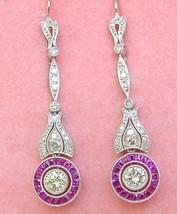 ART DECO 1.36ctw DIAMOND .87ctw RUBY HALO PLATINUM DANGLE WIRE COCKTAIL ... - $4,454.01