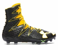 Under Armour Mens Highlight MC Football Cleats Black/Yellow SZ 11.5 1269... - $47.50