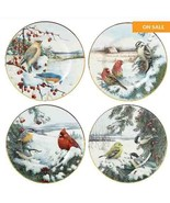 Lenox Winter Greetings Scenic Salad/Dessert/Accent Birds Plates Set of 4... - $130.00