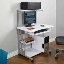 White Mobile Computer Tower Desk Printer Shelf Laptop Table Top Home Off... - $145.43