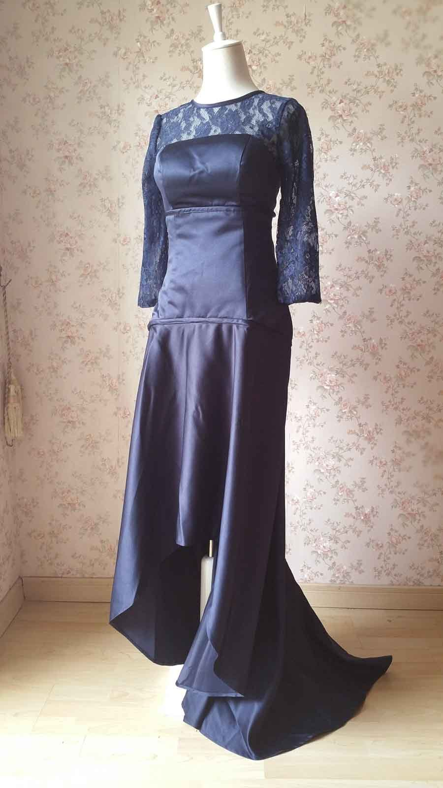 Navy Lace Long Sleeve Mermaid Dress Navy Mother of the bride Dress Wedding Dress