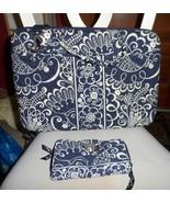 "Vera Bradley Twirly Bird Navy Turnlock wallet & 17"" Laptop Hard Shell case - $69.00"