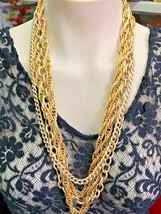 1960's Signed Vintage Gold Tone Multi Strand Necklace - Signed O.S - $9.89