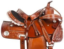 15 GAITED WESTERN LEATHER CHESTNUT BARREL HORSE PLEASURE TRAIL SADDLE TACK - $284.99
