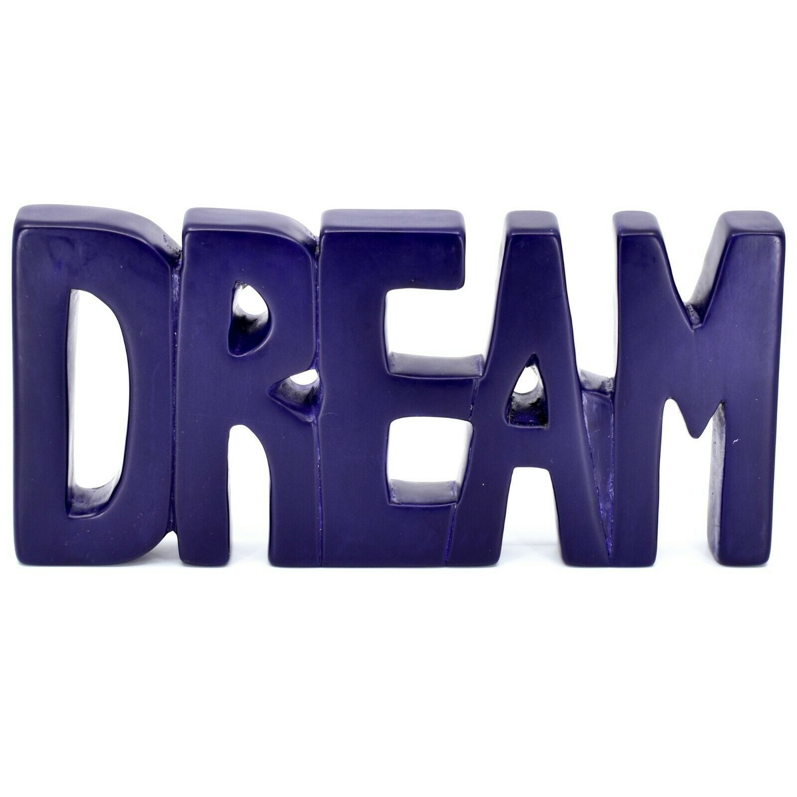 Vaneal Group Hand Carved Soapstone Purple DREAM Standing Word Paperweight