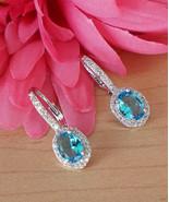 Aquamarine Light Blue Swarovski Crystal Silver Tone Huggies Hoop Earring... - $21.78