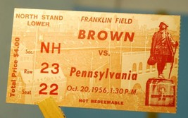 1956 Pennsylvania v Brown College Football Ticket Stub October 20 - $18.81