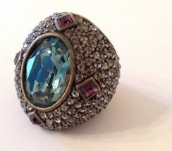 HEIDI DAUS Signed Dark Peridot Amethyst Swarovski Crystal Huge Ring Size... - $79.19