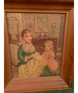 Vintage Painting Lady in Green Dress with Daughter in Pink Dress & Doll - $296.99