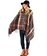 Pretty Simple Plaid Button Blanket Scarf Shawl Women's Wrap (Gray) - £30.68 GBP