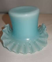 Vintage Fenton Art Glass Blue Over Lay Ruffled Top Hat Vase Made in USA - $32.00