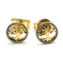 18K YELLOW & WHITE GOLD, MINI 7 MM, ROUND EARRINGS BEAUTIFUL TREE OF LIFE image 1
